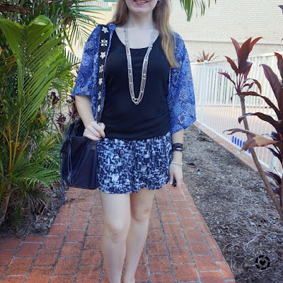 awayfromblue instagram | print mixing attempt navy kimono black tank and soft shorts summer style