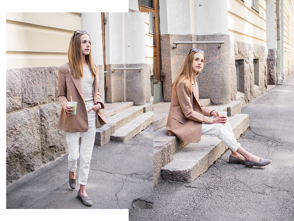 Fashion blogger street style, tonal outfit in light neutrals - Muotibloggaaja, asuinspiraatio, neutraalit värit