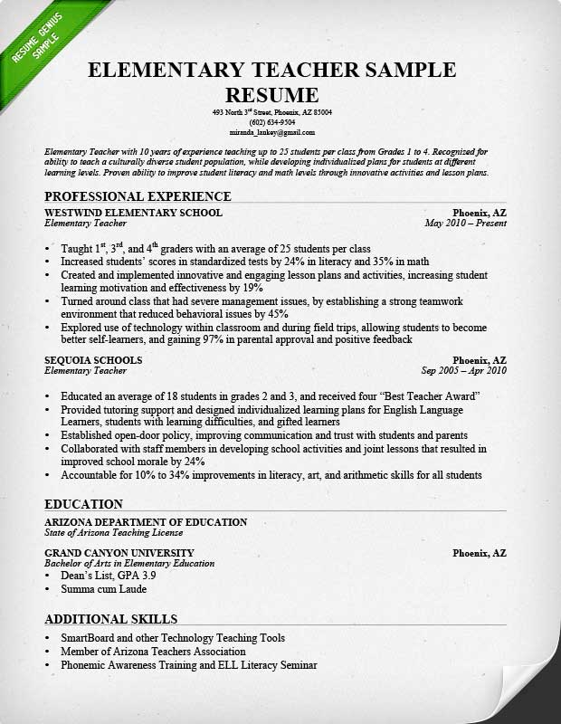 5 teacher resumes samples