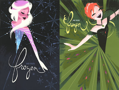 "Frozen ""Anna"" & ""Elsa"" Screen Prints by Brittney Lee x Cyclops Print Works"