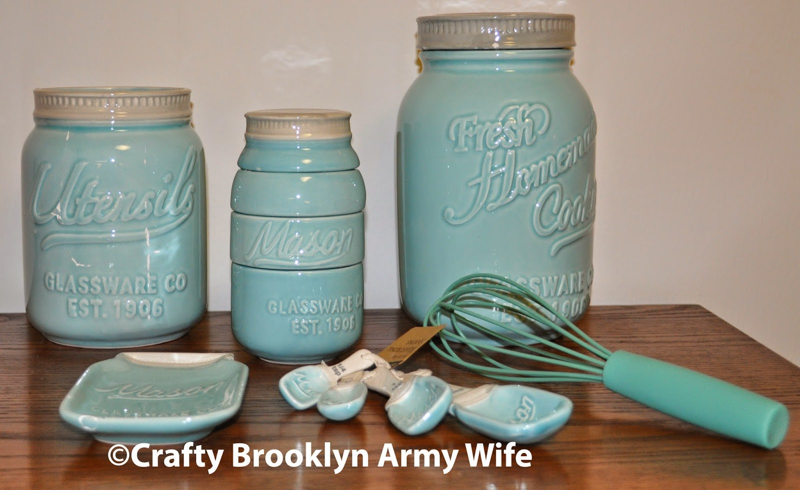 Crafty brooklyn army wife i won the world market mason for Kitchen jar decoration
