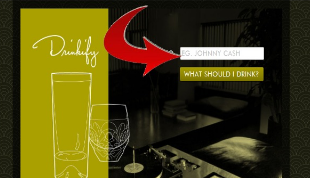 Strange site suggests you appropriate drink to drink after you enter the name of any song to listen to.