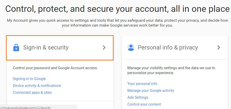 change my google account password