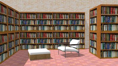 Poltrona e puff junto de prateleiras: mobiliário comum nas grandes livrarias.