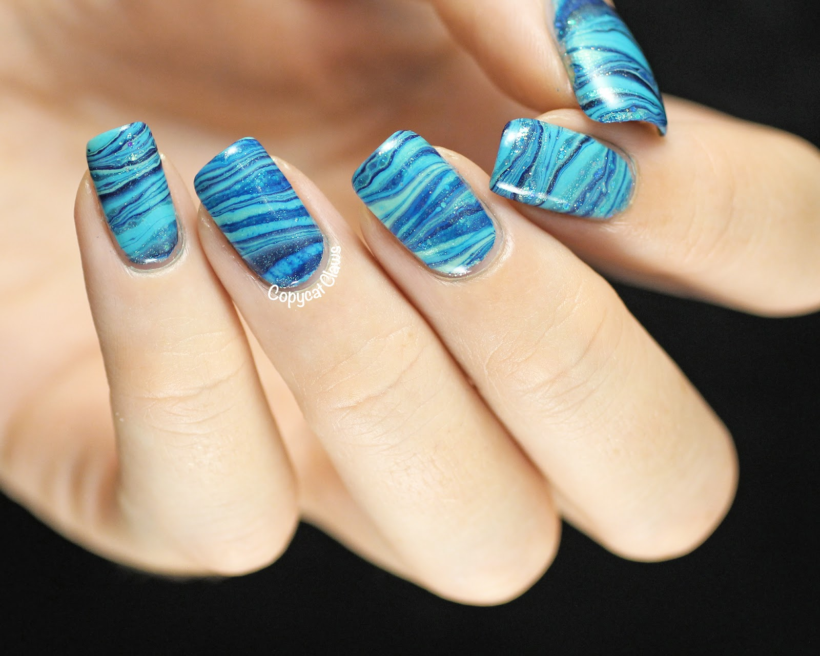 Copycat claws 31dc2014 day 20 blue water marble nail art 31dc2014 day 20 blue water marble nail art prinsesfo Images