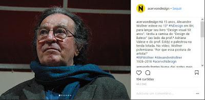 Postagem do instagram do Acervo NDesign com um texto e uma foto do Alexandre