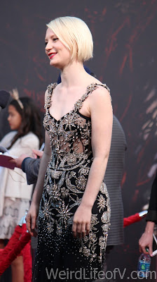 Mia Wasikowska being interviewed on the red carpet