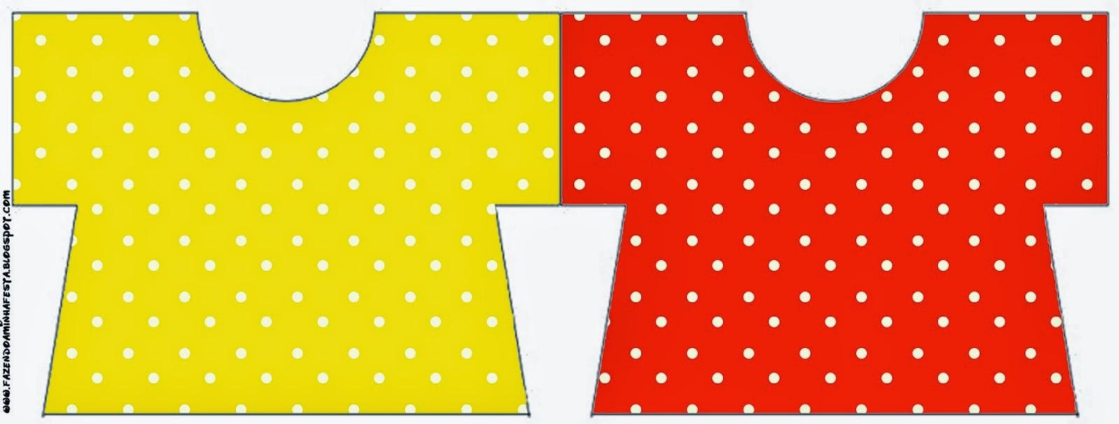 Tarjeta con forma Camiseta de Rojo, Amarillo y Lunares Blancos.
