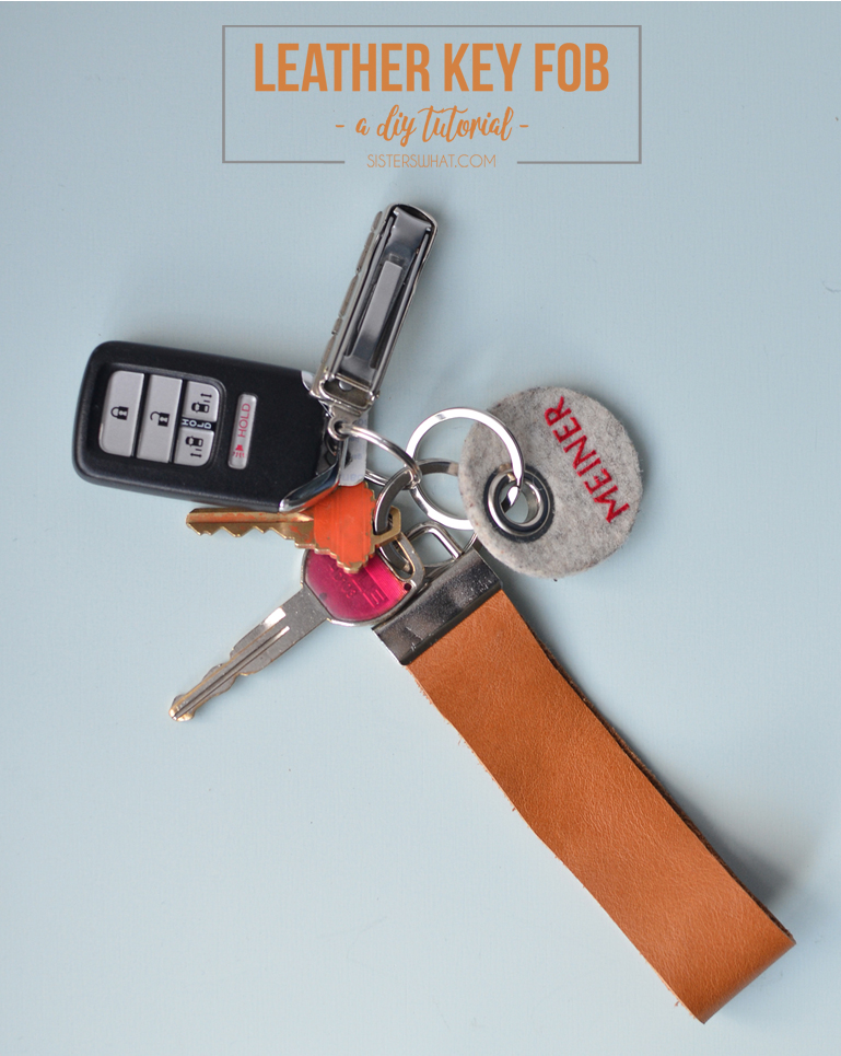 scrap leather key fob key chain diy tutorial