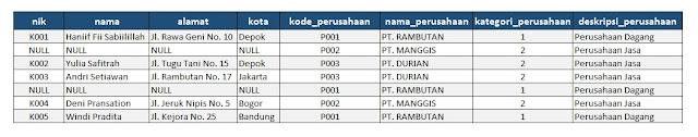 contoh normalisasi database