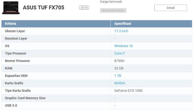 Laptop Game ASUS Terbaik seri TUF Gaming FX705