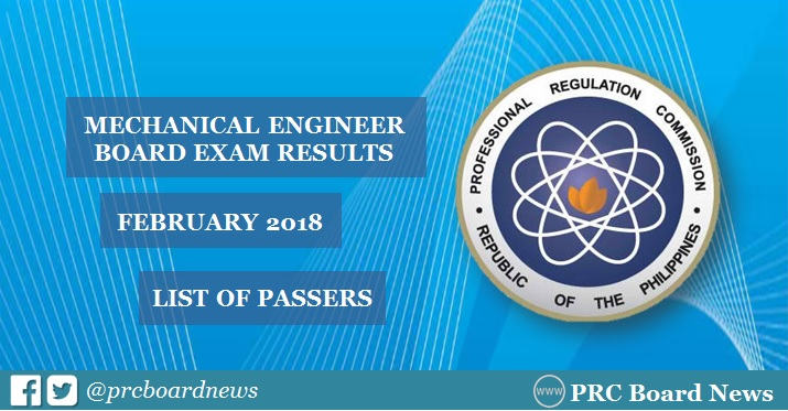 February 2018 Mechanical Engineer ME, CPM board exam passers list