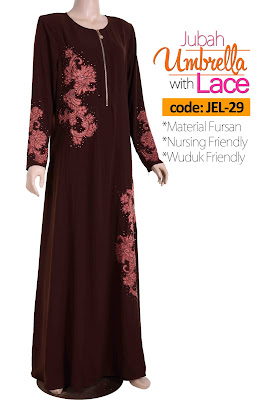 Jubah Umbrella Lace JEL-29 Brown Depan 4