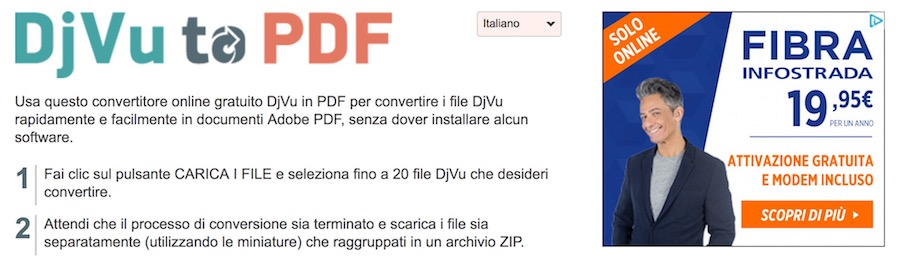 come convertire file djvu in pdf online