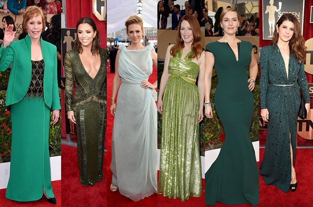 Sag Awards 2016 - celebridades usando verde: Carol Burnett  Eva Longoria  January Jones  Julianne Moore  Kate Winslet  Marisa Tomei (foto: Getty Images)