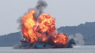 Kapal-kapal yang di Ledakan tersebut, Merupakan 13 Kapal dari Vietnam dan 10 dari Malaysia, Dan Kapal Kapal ini akan diledakkan secara simultan hari Selasa (5/4) di tujuh pelabuhan dari Tarakan di Kalimantan Utara sampai Ranai di Aceh - Commando