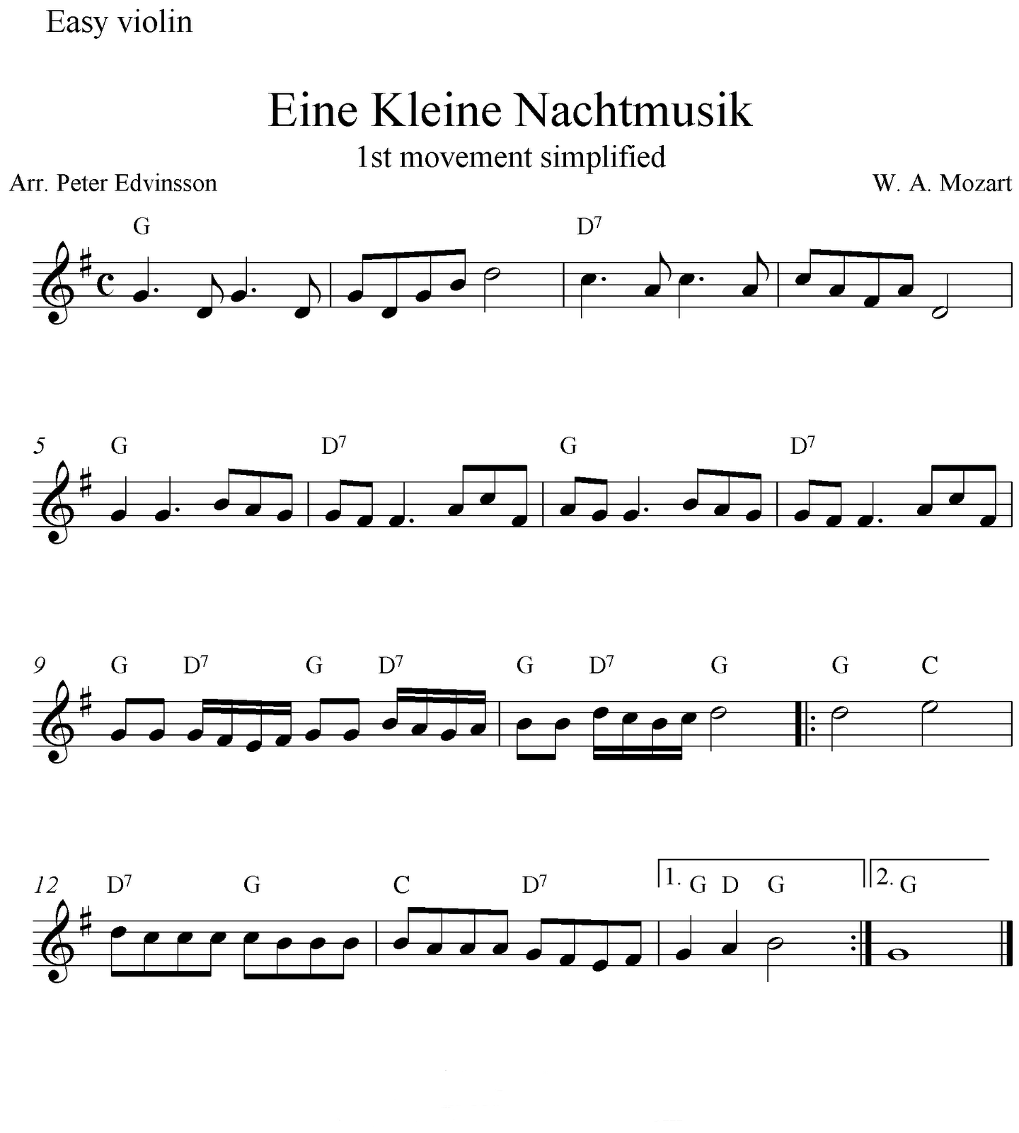 partituras para ocarina flauta e outros partitura eine kleine nachtmusik. Black Bedroom Furniture Sets. Home Design Ideas