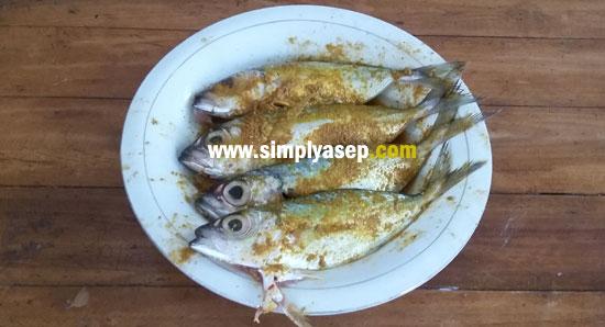 IKAN KEMBUNG : Inilah ikan kembung yang sudah diungkep dan siap berenang di penggorengan.  Foto Asep Haryono