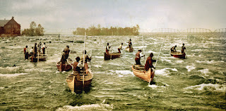 """Indians fishing at the """"Soo"""", Sault Ste. Marie, 1887"""