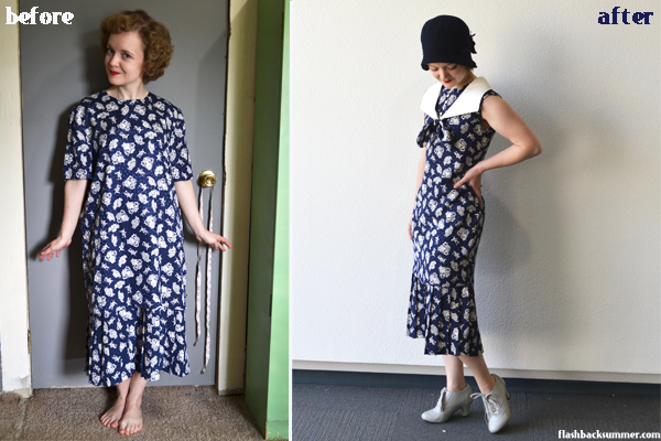 Flashback Summer: 1980s to 1920s Upcycling Project - recycled 80s dress becomes 1920s summer dress