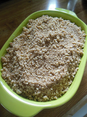 Pear and Cranberry Crumble, ready to bake. Delicious plain or garnished with whipped cream!