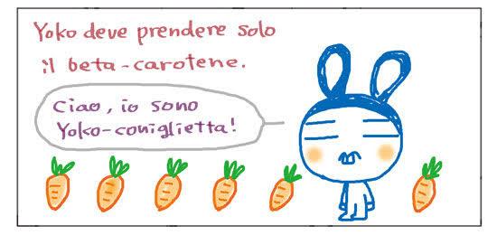 Yoko deve prendere solo il beta-carotene. Ciao, io sono Yoko-coniglietta!