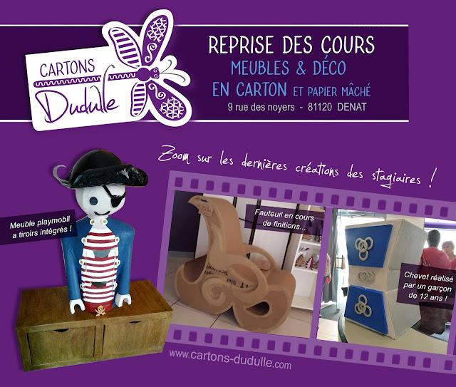 Stages créatifs de création de déco et meubles en carton chez Cartons Dudulle à Dénat 81