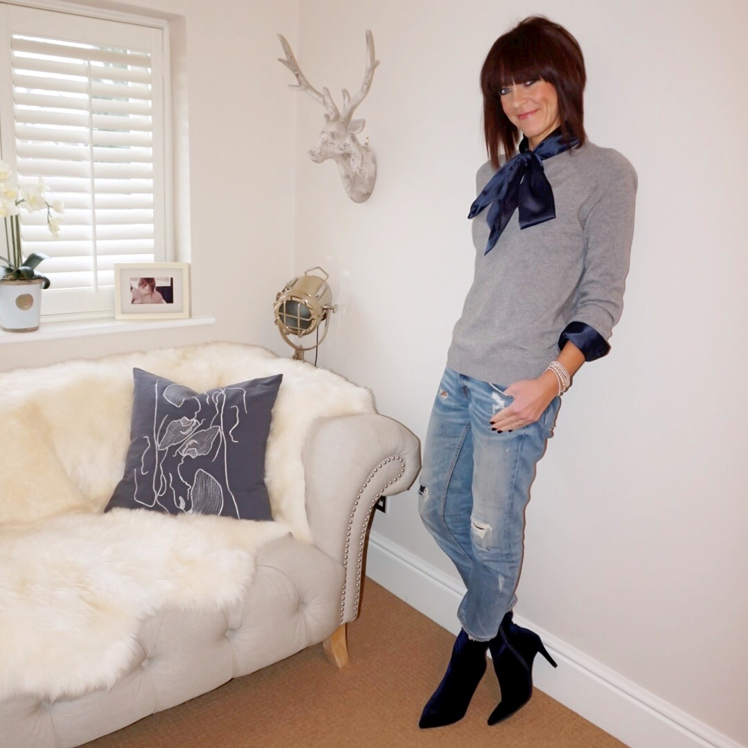 my midlife fashion, hawes and curtis navy satin pussy bow blouse, H and m cashmere crew neck jumper, zara distressed cropped straight leg jeans, marks and spencer stiletto heel side zip ankle boots
