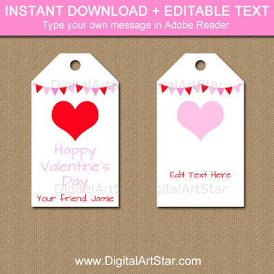 editable Valentine's Day hang tags - white with pink and red accents