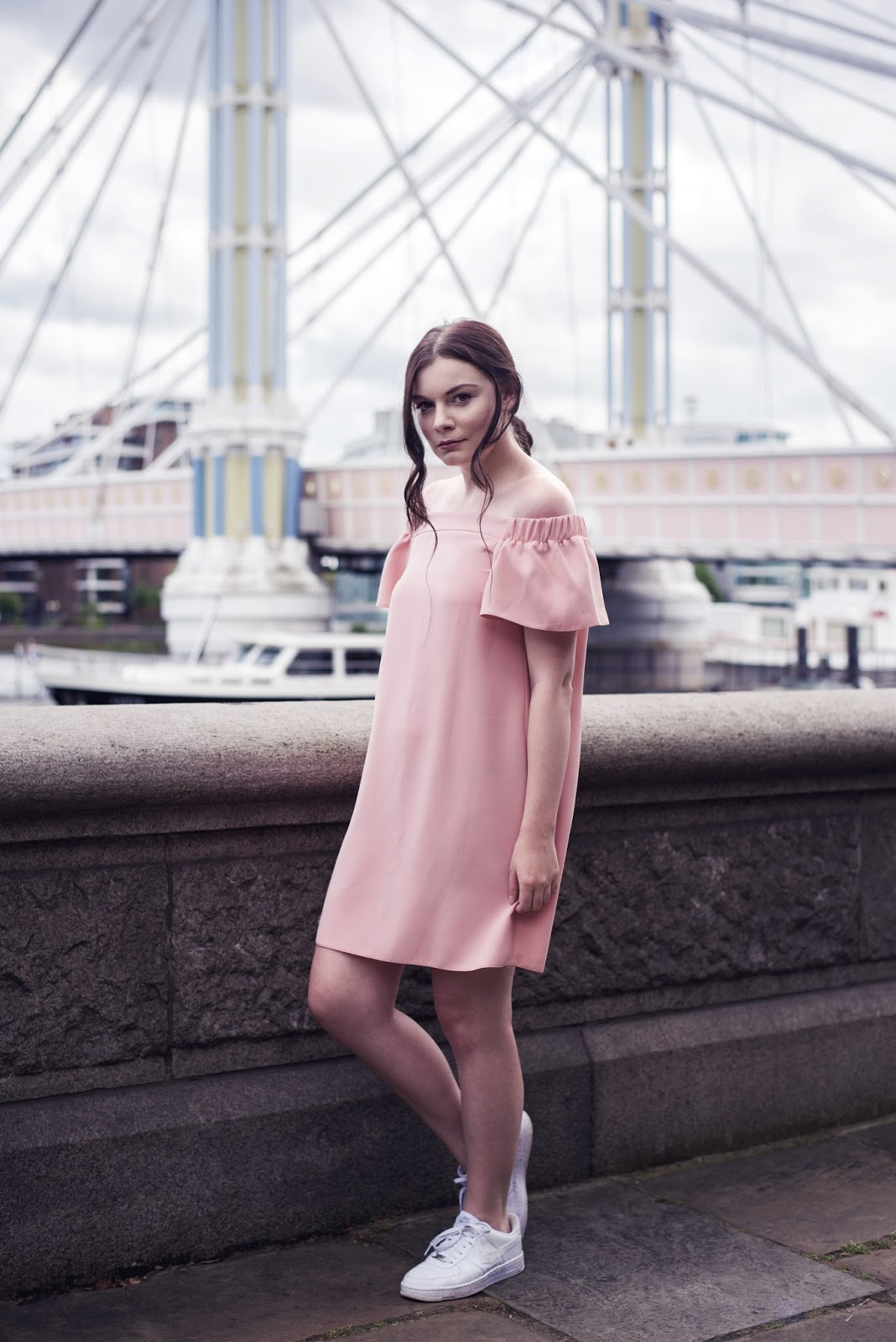 Pink Topshop Bardot Dress and Nike Air Force 1 | Albert Bridge Chelsea London | Rose Kiara Peaches