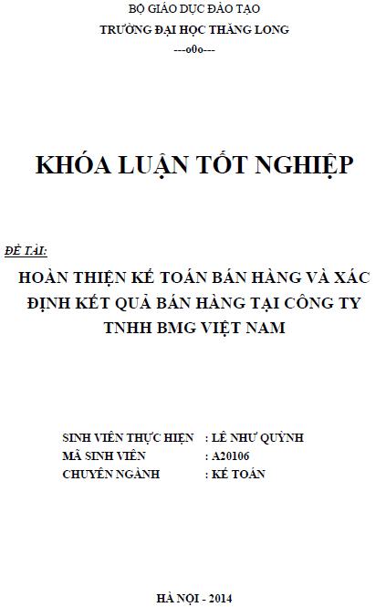 Hoàn thiện kế toán bán hàng và xác định kết quả bán hàng tại Công ty TNHH BMG Việt Nam