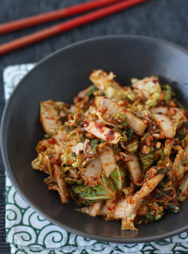 Fresh Kimchi aka Spicy Korean Napa Cabbage Salad by SeasonWithSpice.com