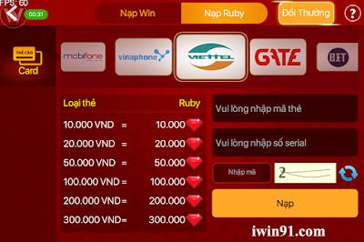 huong dan nap ruby trong game iwin online