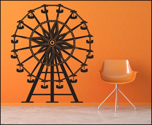 Ferris Wheel wall decal  circus bedroom ideas - circus theme bedroom decor - carnival theme bedrooms - decorating circus theme bedrooms - Ice Cream theme decor - balloon decor - Disney Dumbo - circus party theme - Roller Coaster Amusement Park wall decals - ice cream party decorations - circus wallpaper murals