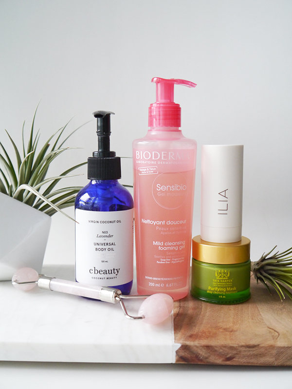 Natural and free-from skincare products perfect for the transition from summer to fall, featuring cbeauty, Bioderma, Tata Harper, Skin Gym, and ILIA.