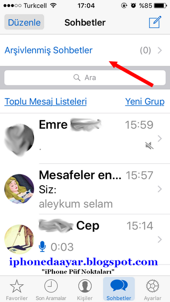 whatsapp sohbet silme iphone