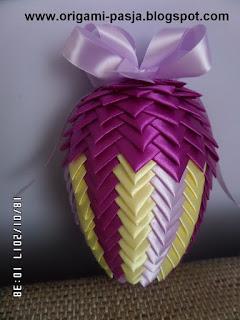handmade, rękodzieło, szpilki, wstążka, jajo, styropian, 18 cm, wstążka zielona, fioletowa, kremowa, żółta,