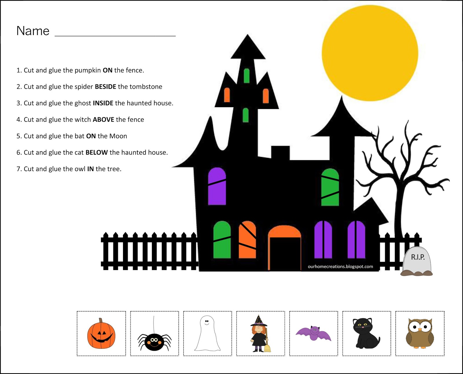 Ourhomecreations Free Halloween Positional Worksheet