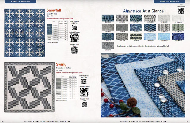 Snowfall quilt using Alpine Ice Island Batik fabrics