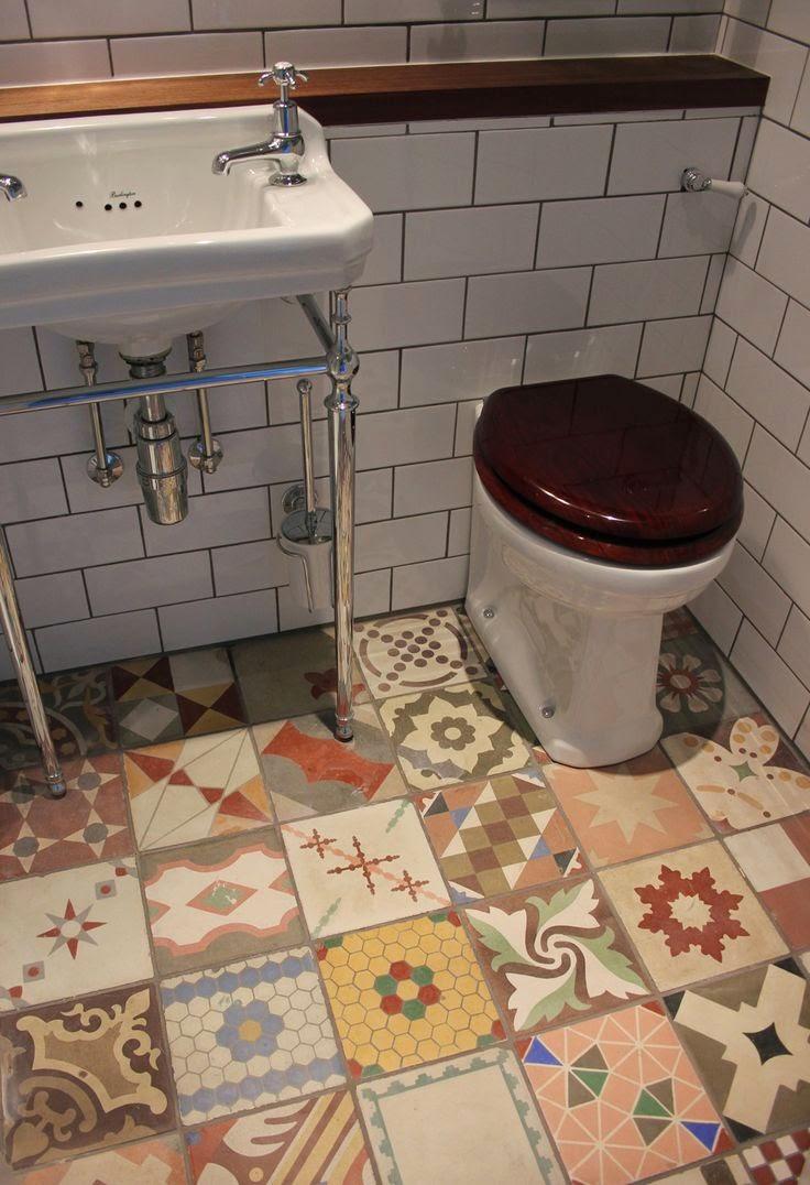To Da Loos: Patchwork Tile Bathroom Floors