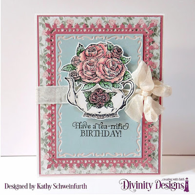 Divinity Designs Stamp Set: Tea Time, Custom Dies: Tea Pot & Roses, Lavish Layers, Paper Collection:  Romantic Roses