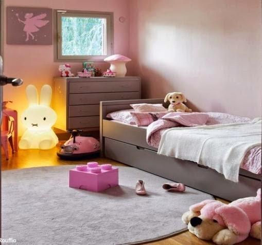 Dormitorio niña rosa gris