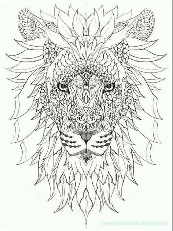 Kostenlos Färben und Drucken Downloaden-Lion Mandala Färbung   Free ...