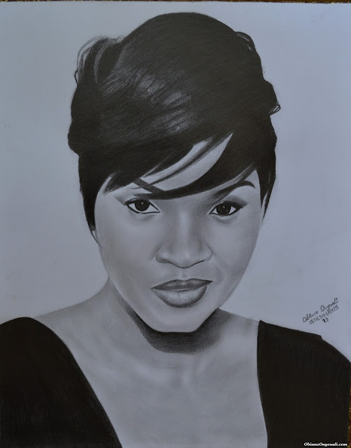 REALISTIC PENCIL DRAWING OF OMOTOLA JALADE-EKEINDE