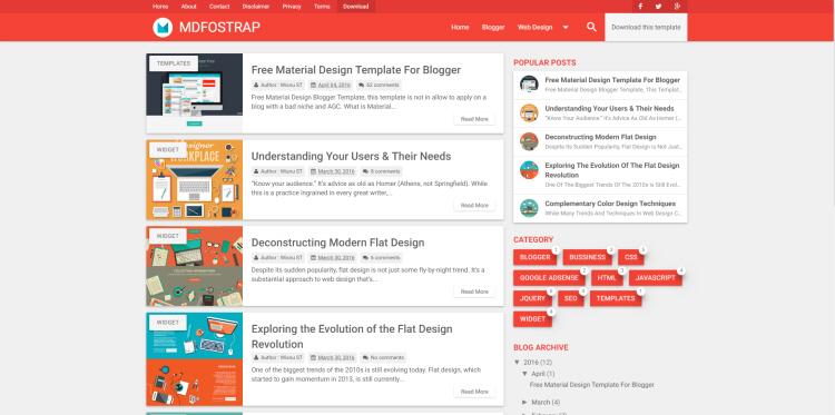 MDfostrap Blogger Template, download free blogspot theme 2018