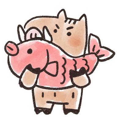 鯛を持ち上げる猪のイラスト(亥年)