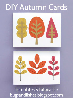 autumn leaf and tree cards free tutorial