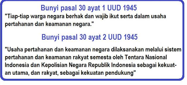 Bunyi Pasal 30 Ayat 1, 2, 3, 4 dan 5 UUD 1945