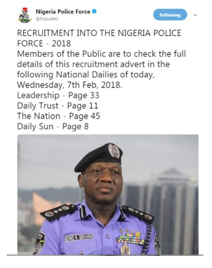 Nigeria Police Force Recruitment 2018/2019 (Check Details)