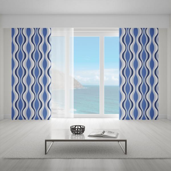 Zasłony we wzory geometryczne - blue waves